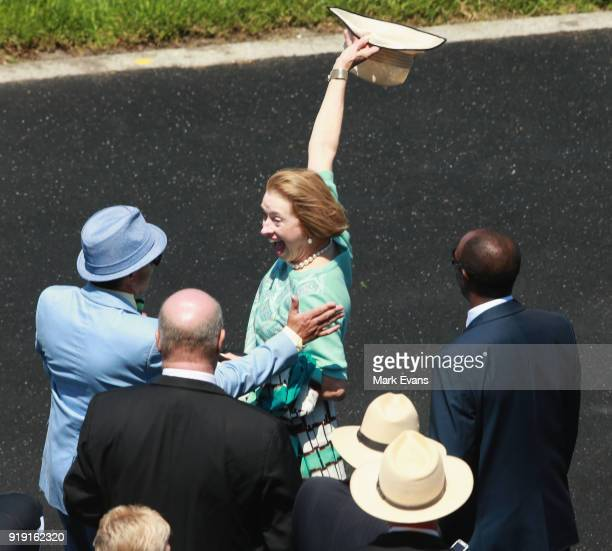 Trainer Gai Waterhouse celebrates after her horse Santos won race 2 on Apollo Stakes Day at Royal Randwick Racecourse on February 17 2018 in Sydney...