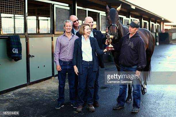 Trainer Gai Waterhouse poses with managing owner Andrew Roberts their Melbourne Cup winning horse Fiorente and strapper Des Fisher at the Gai...