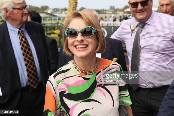 Trainer Gai Waterhouse smiles after winning race 2 with Arbeitsam during Sydney Racing at Rosehill Gardens on March 31 2018 in Sydney Australia