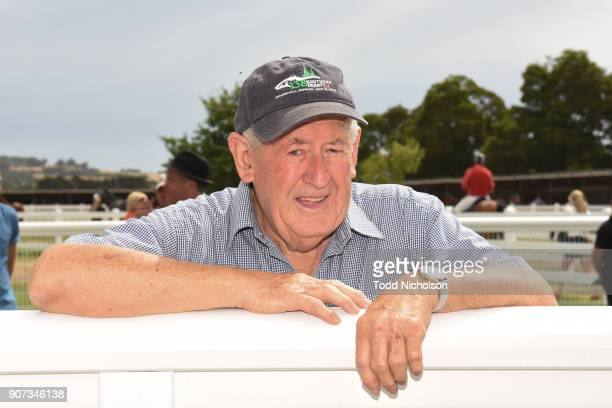 Trainer Geoff Daffy after his horse Aurora Rising won the Colac Toyota BM64 Handicap at Camperdown Racecourse on January 20 2018 in Camperdown...