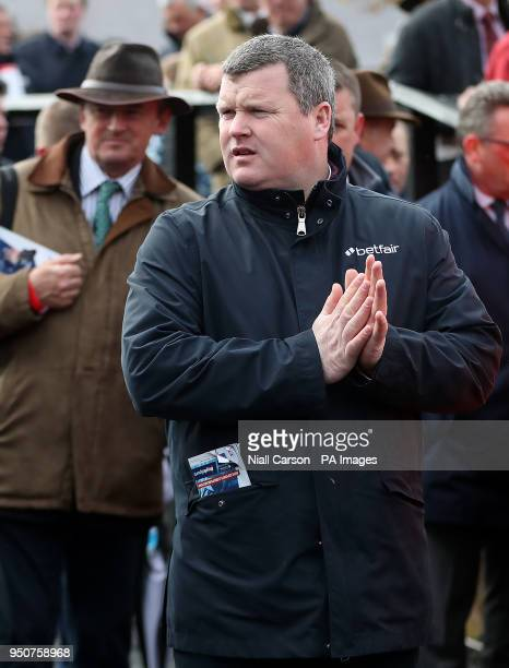 Trainer Gordon Elliot in the parade ring during day one of the Punchestown Festival 2018 at Punchestown Racecourse County Kildare PRESS ASSOCIATION...