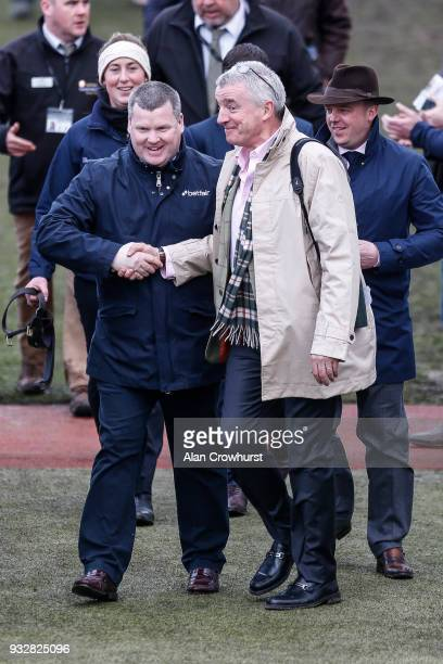 Trainer Gordon Elliott with owner Michael O'Leary at Cheltenham racecourse on Gold Cup Day on March 16 2018 in Cheltenham England