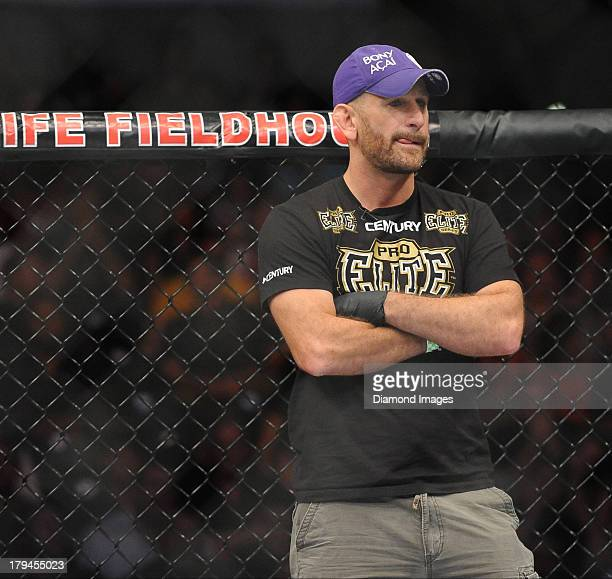 Trainer Greg Jackson stands in the corner of the octagon after a lightweight bout during UFC Fight Night 27 Condit v Kampmann 2 at Bankers Life Field...