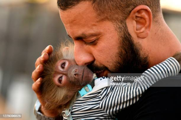 Trainer holds a monkey at Al-Buqaish private zoo in the Emirate of Sharjah on October 15, 2020.