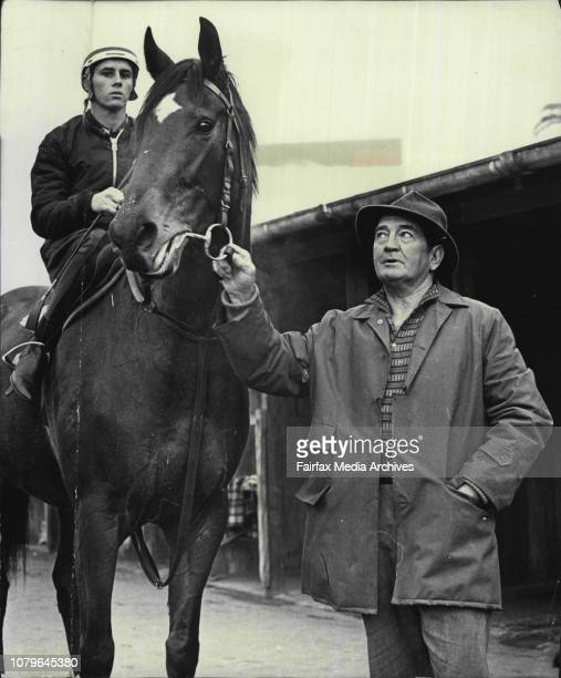 Trainer Jack Green at Randwick track today Jack Green attends BoPeep ridden by apprentice jockey Wayne White at Randwick track today May 18 1966...