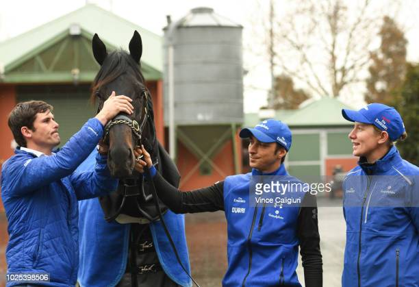 Trainer James Cummings and assistant trainer Kate Grimwade pose with Kementari ahead of SaturdayÕs $1 million New Zealand Bloodstock Memsie Stakes...
