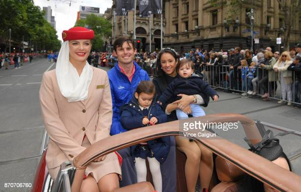 Trainer James Cummings is seen with wife Monica and children Adeline and Harvey during the 2017 Melbourne Parade on November 6 2017 in Melbourne...