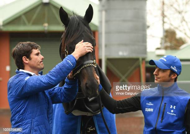 Trainer James Cummings poses with Kementari ahead of SaturdayÕs $1 million New Zealand Bloodstock Memsie Stakes during a media opportunity at...