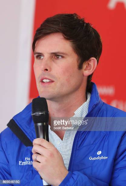 Trainer James Cummings speaks during the AAMI Victoria Derby Day media conference at Flemington Racecourse on November 3 2017 in Melbourne Australia