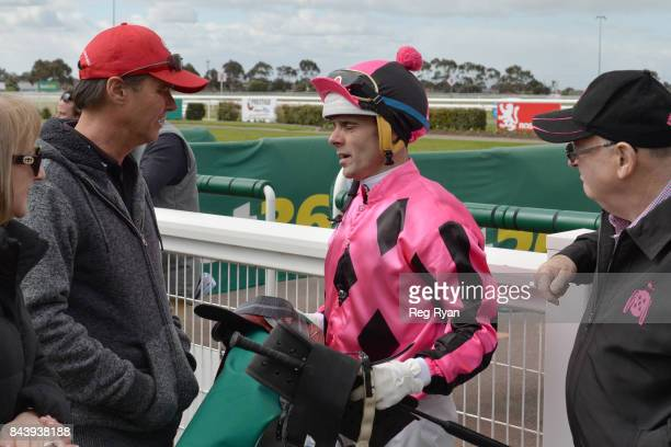 Trainer Jamie Edwards with Noel Callow after their horse Minyinga won the Bet365 3YO Maiden Plate at Geelong Synthetic Racecourse on September 08...