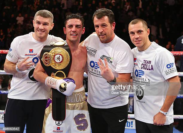 Trainer Joe Gallagher second right with his three world champions left to right Liam Smith Anthony Crolla and Scott Quiqq after Crolla's victory...