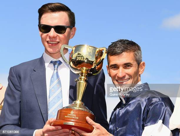 Trainer Joseph O'Brien and Corey Brown who rode Rekindling celebrates awinning race 7 the Emirates Melbourne Cup during Melbourne Cup Day at...