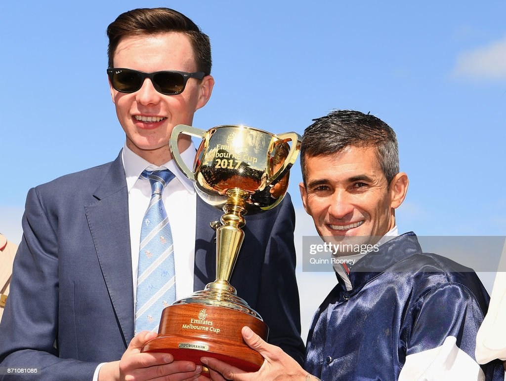 Trainer Joseph O'Brien and Corey Brown who rode Rekindling celebrates awinning race 7, the Emirates Melbourne Cup, during Melbourne Cup Day at Flemington Racecourse on November 7, 2017 in Melbourne, Australia.