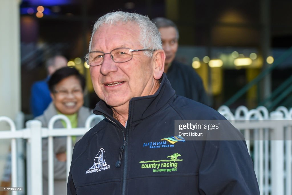 Trainer Ken Keys after his horse Wenner won the Ladbrokes Protest Payout Handicap at Ladbrokes Park Hillside Racecourse on June 13, 2018 in Springvale, Australia.