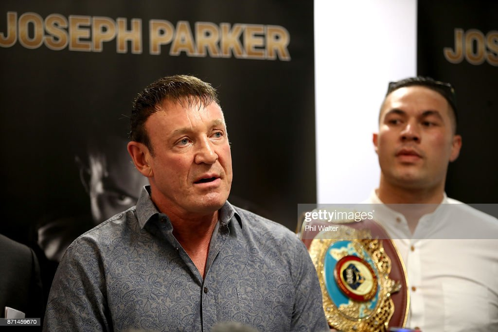 Trainer Kevin Barry (L) speaks alongside Joseph Parker (R) during a press conference at Duco Events Office on November 8, 2017 in Auckland, New Zealand.
