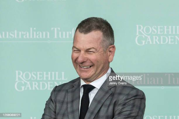 Trainer Kris Lees smiles after winning race 5 the Asx Refinitiv Charity Foundation with Korcho during Sydney Racing at Rosehill Gardens on July 25,...