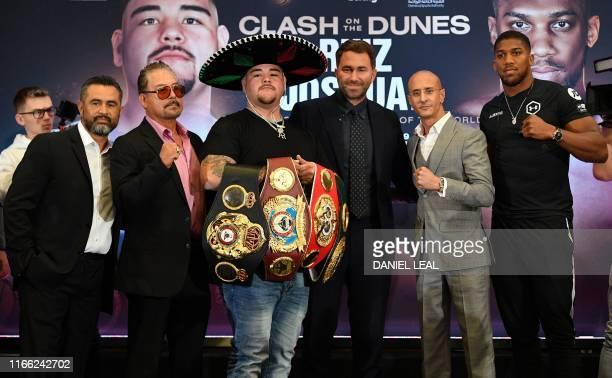 Trainer Manny Robles Andy Ruiz snr MexicanUS WBA IBF WBO and IBO heavyweight boxing champion Andy Ruiz Jr promoter Eddie Hearn Omar Khalil managing...