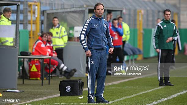 Trainer Marcus Sorg of Germany during the UEFA Under19 Elite Round match between U19 Germany and U19 Slovakia at Carl-Benz-Stadium on March 26, 2015...