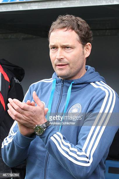 Trainer Marcus Sorg of Germany , during the UEFA Under19 Elite Round match between U19 Germany and U19 Slovakia at Carl-Benz-Stadium on March 26,...