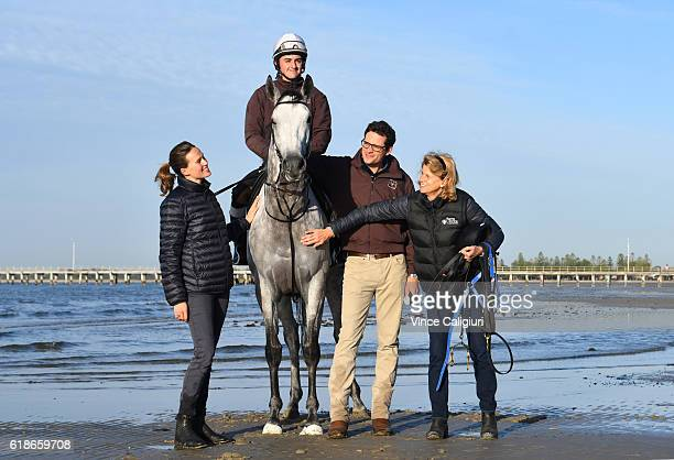 Trainer Matt Cumani poses with his Melbourne Cup runner Grey Lion with sister Francesca Cumani and mother Sarah Cumani and rider Bastion Neuhaus...