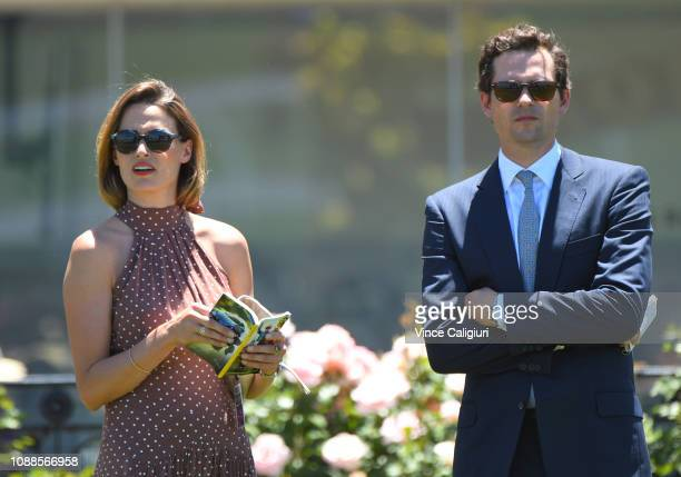 Trainer Matthew Cumani and Francesca Cumani after Lady Naturaliste finished in fourth place in Race 1 during Melbourne racing at Flemington...