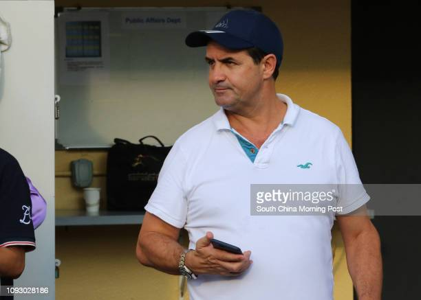 Trainer Michael Freedman at Happy Valley barrier trial. 09SEP17