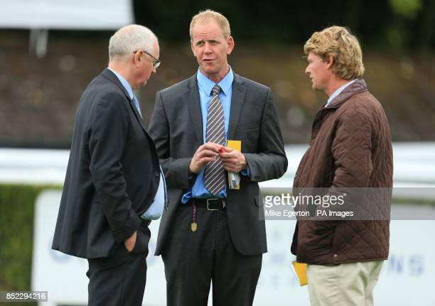 Trainer Mick Channon with his son and fellow trainer Mick Channon jnr during day two of Glorious Goodwood at Goodwood Racecourse, Chichester.