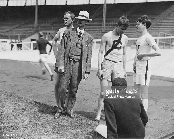 US trainer Mike Murphy with a group of sprinters during the 1908 Summer Olympics in London The man with a C on his vest is athlete John C Carpenter