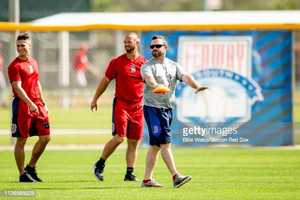 Trainer Mike Roose of the Boston Red Sox reacts during a team workout on February 21 2019 at JetBlue Park at Fenway South in Fort Myers Florida