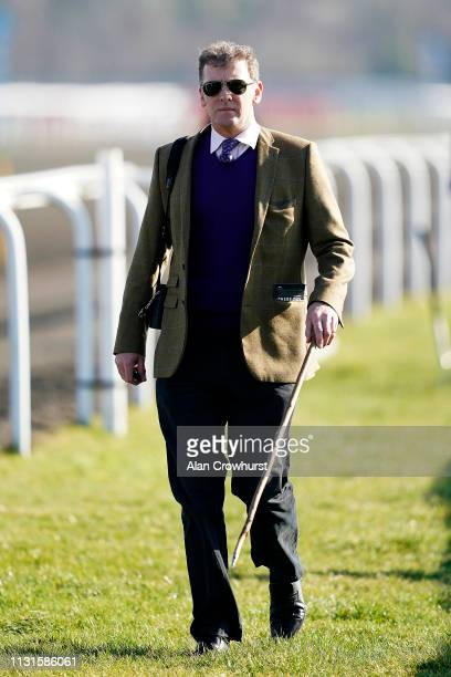 Trainer Nick Gifford poses at Kempton Park Racecourse on February 23 2019 in Sunbury England