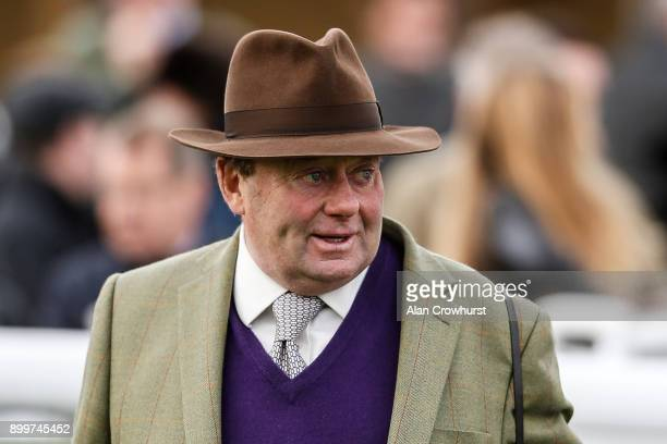 Trainer Nicky Henderson has been made a Lieutenant of the Royal Victorian Order at Newbury racecourse on December 30 2017 in Newbury United Kingdom