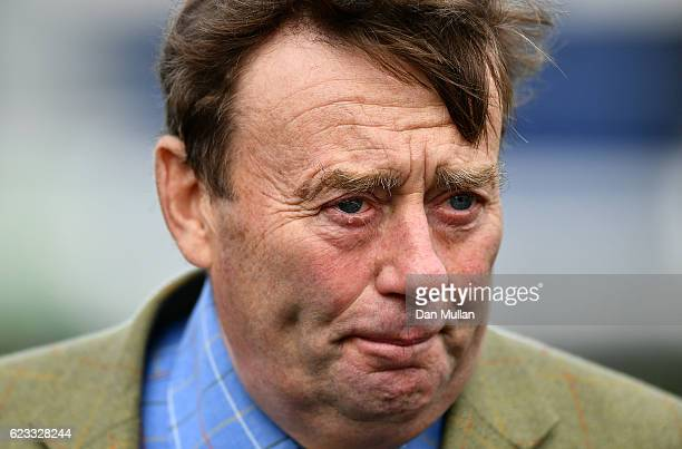Trainer Nicky Henderson looks on during The Hennessy Gold Cup preview day at Newbury Racecourse on November 15 2016 in Newbury England