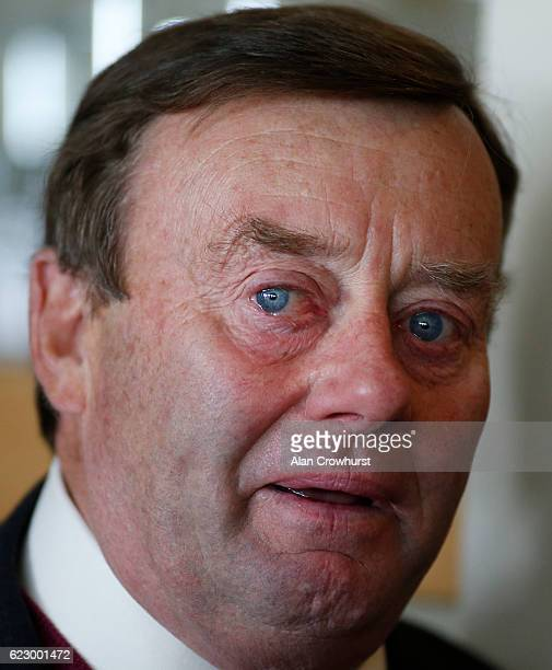 Trainer Nicky Henderson sheds a tear after announcing the retirement of his top horse Sprinter Sacre at Cheltenham Racecourse on November 13 2016 in...
