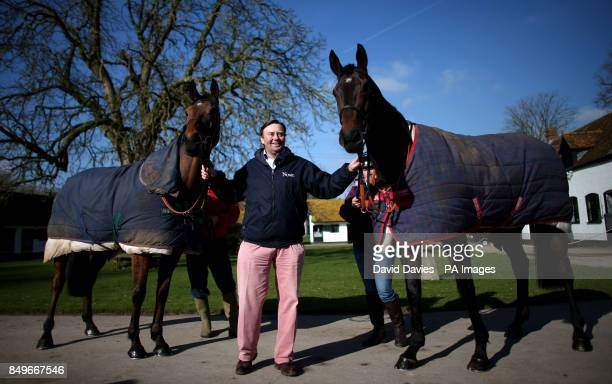 Trainer Nicky Henderson with Bobs Worth and Long Run during the visit to Nicky Henderson's Stables at Seven Barrows in Lambourn.
