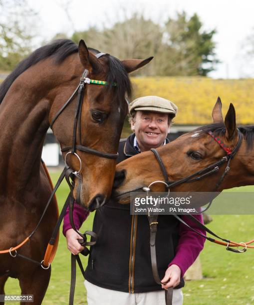 Trainer Nicky Henderson with My Tent or Yours and Bobs Worth during a stable visit at Seven Barrows, Lambourn.