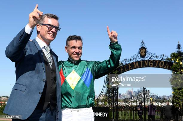 Trainer of Alligator Blood, David Vandyke and Jockey Ryan Maloney celebrate after winning Race 7 the Kennedy Australian Guineas during Melbourne...