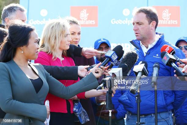 Trainer of Cross Counter Charlie Appleby speaks to media during the Melbourne Cup Winners Media Opportunity at Werribee Racecourse on November 7 2018...