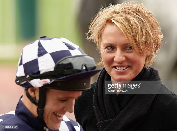 Trainer of Not A Copy Nikki Burke speaks with Brian Park after winning Race Three the Winning Edge Presentations Plate during the Thoroughbred Club...