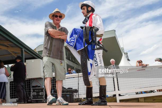Trainer Peter Morgan with Jamie Mott after his horse Evopex won the Ray White Ferntree Gully Maiden Plate at Yarra Valley Racecourse on December 22...