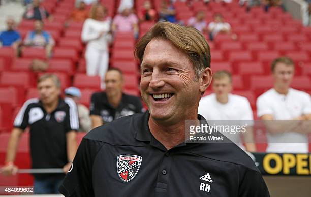 Trainer Ralph Hasenhuettl of Ingolstadt looks on prior during the Bundesliga match between 1 FSV Mainz 05 and FC Ingolstadt at Coface Arena on August...