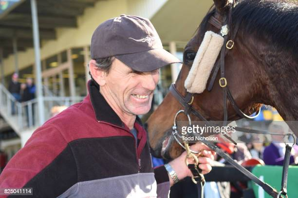 Trainer Ray Gilcrist after his horse Rinehart won the Schweppes Class 1 Handicap at Warrnambool Racecourse on August 01 2017 in Warrnambool Australia