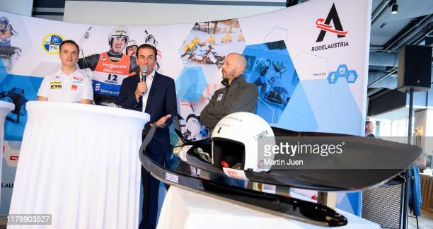 Trainer Rene Friedl former luge athlet Markus Prock and sports director of the Austrian Olympic Committee Christoph Sieber behind a ludge during the...