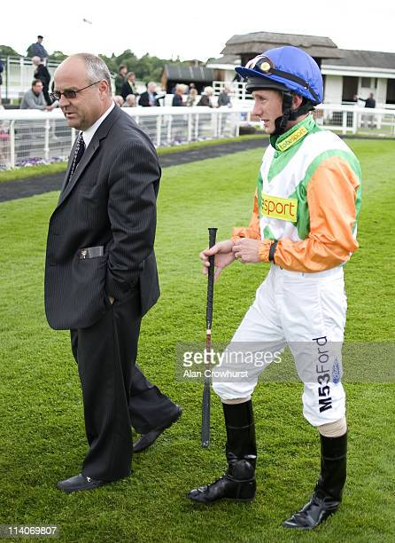 Trainer Richard Fahey with Paul Hanagan at York racecourse on May 11 2011 in York England