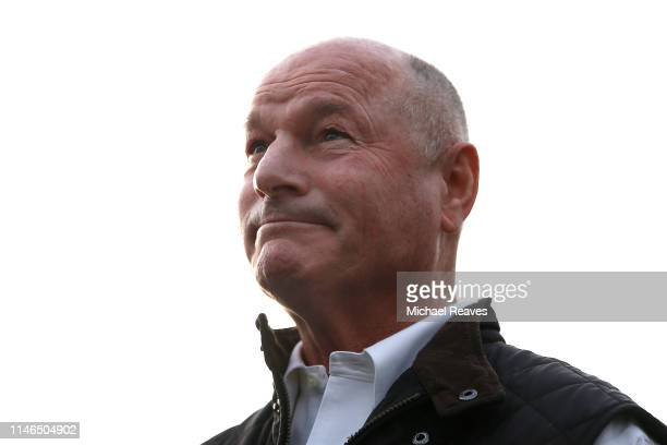 Trainer Richard Mandella reacts as he addresses the media after Omaha Beach was scratched from the 145th running of the Kentucky Derby at Churchill...