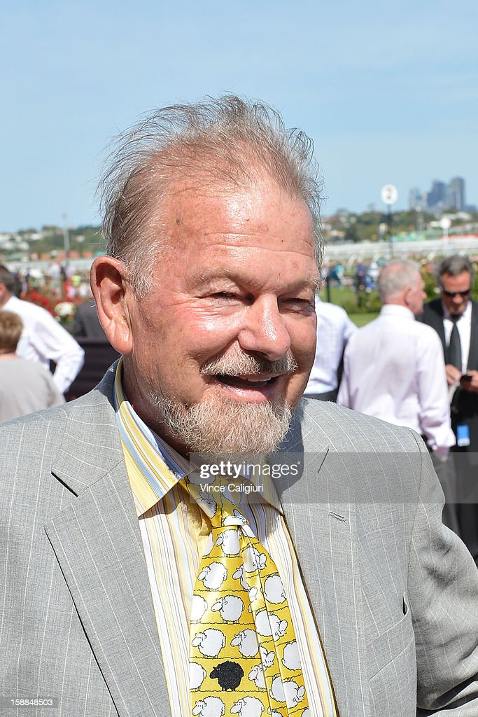 Trainer Rick Hore-Lacy is all smiles after Good Ba Ba finished fourth in the Standish Handicap during Melbourne Racing at Flemington Racecourse on January 1, 2013 in Melbourne, Australia.
