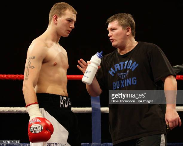Trainer Ricky Hatton with Adam Little before Little's Welterweight bout against Chris Jenkinson at the Sports Centre Oldham