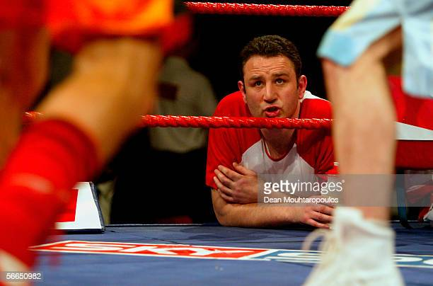 Trainer Robert McCracken gives instructions from the corner during the bout between Billy Corcoran and Frederic Bonifai at York Hall Bethnal Green on...