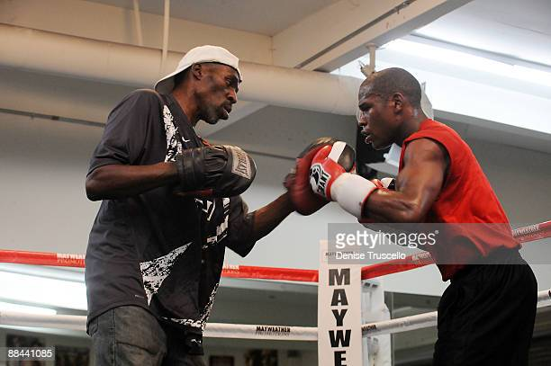 Trainer Roger Mayweather and boxer Floyd Mayweather trains at Las Vegas Boxing Gym on June 11 2009 in Las Vegas Nevada