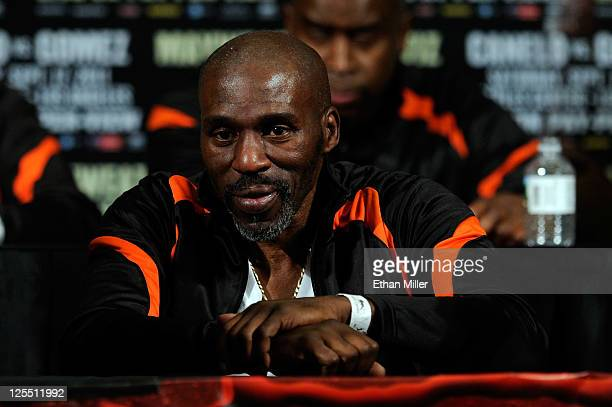 Trainer Roger Mayweather looks on during the postfight news conference after his fighter Floyd Mayweather Jr's fourth round knockout of Victor Ortiz...