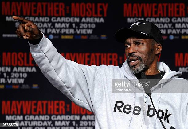 Trainer Roger Mayweather speaks during the final news conference for the bout between Floyd Mayweather Jr and Shane Mosley at the MGM Grand...